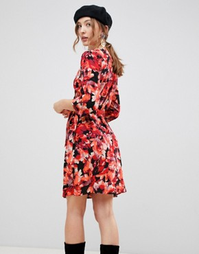 photo Dark Floral Wrap Dress by MbyM, color Tibetan Red - Image 2
