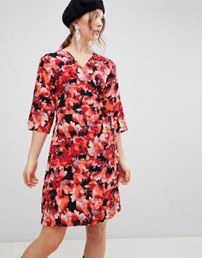 photo Dark Floral Wrap Dress by MbyM, color Tibetan Red - Image 1