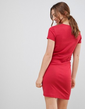 photo Cross Front Dress by MbyM, color Teaberry - Image 2