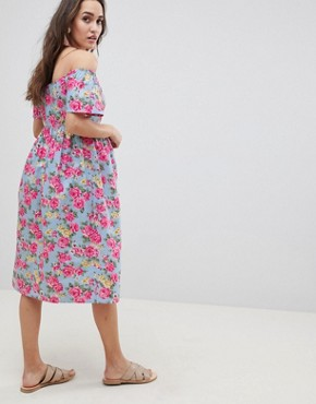 photo Maternity Ultimate Off Shoulder Ruffle Midi Sundress in Vintage Floral by ASOS DESIGN, color Multi - Image 2