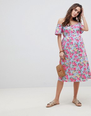 photo Maternity Ultimate Off Shoulder Ruffle Midi Sundress in Vintage Floral by ASOS DESIGN, color Multi - Image 1