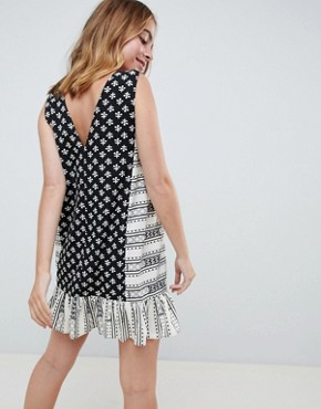 photo Mini Tab Side Button Through Pep Hem Sundress in Mixed Print by ASOS DESIGN Petite, color Multi - Image 2