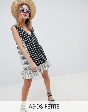 photo Mini Tab Side Button Through Pep Hem Sundress in Mixed Print by ASOS DESIGN Petite, color Multi - Image 1