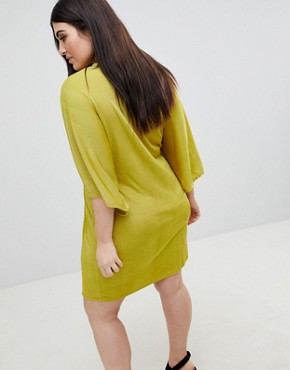 photo Twist Front Mini Dress by Missguided Plus, color Yellow - Image 2