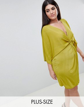 photo Twist Front Mini Dress by Missguided Plus, color Yellow - Image 1
