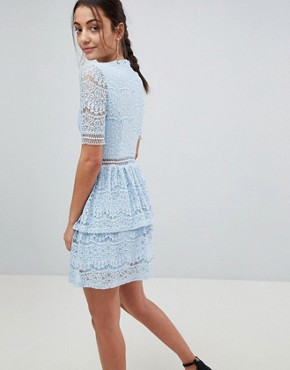 photo Lace Layered Mini Dress by Missguided Tall, color Blue - Image 2
