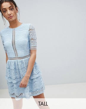 photo Lace Layered Mini Dress by Missguided Tall, color Blue - Image 1