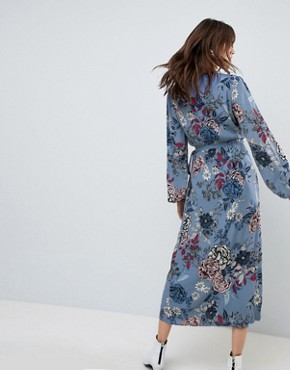 photo Floral Printed Wrap Midi Kimono Dress by Gestuz, color Light Blue Flower - Image 2