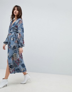 photo Floral Printed Wrap Midi Kimono Dress by Gestuz, color Light Blue Flower - Image 1