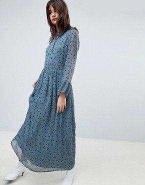 photo Maxi Dress with Blue Flower Print by Gestuz, color Blue Flower - Image 1