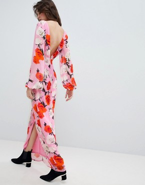 photo Rose Printed Maxi Dress with Open V-Back by Gestuz, color Pink Roses - Image 2
