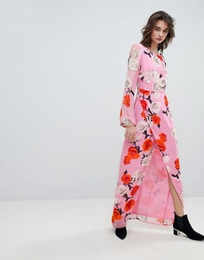 photo Rose Printed Maxi Dress with Open V-Back by Gestuz, color Pink Roses - Image 1