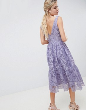 photo Lace Plunge Neck Midi Prom Dress by ASOS DESIGN, color Lilac - Image 2