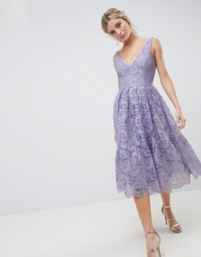 photo Lace Plunge Neck Midi Prom Dress by ASOS DESIGN, color Lilac - Image 1