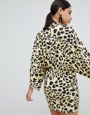 photo Leopard Print Wrap Front Kimono Mini Dress by Flounce London, color Yellow Leo - Image 2