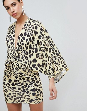photo Leopard Print Wrap Front Kimono Mini Dress by Flounce London, color Yellow Leo - Image 1