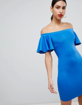 photo Bardot Mini Dress with Fluted Sleeve by Flounce London, color Cobalt - Image 1