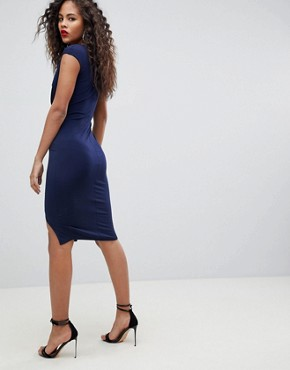 photo Wrap Front Bodycon Midi Dress with Double Splits by Flounce London Tall, color Navy - Image 2