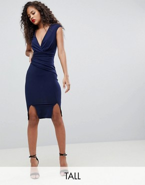 photo Wrap Front Bodycon Midi Dress with Double Splits by Flounce London Tall, color Navy - Image 1