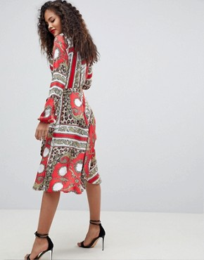 photo Wrap Front Midi Dress by Flounce London Tall, color Multi - Image 2