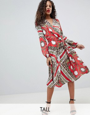 photo Wrap Front Midi Dress by Flounce London Tall, color Multi - Image 1