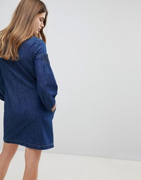 photo Balloon Sleeve Denim Dress by Esprit, color Blue - Image 2