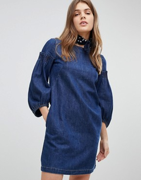 photo Balloon Sleeve Denim Dress by Esprit, color Blue - Image 1