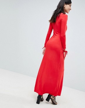 photo Maxi Tea Dress with Self Covered Buttons by ASOS DESIGN Tall, color Red - Image 2