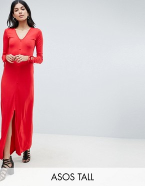 photo Maxi Tea Dress with Self Covered Buttons by ASOS DESIGN Tall, color Red - Image 1