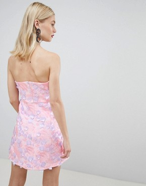 photo 3d Floral Bandeau a-line Mini Dress by ASOS DESIGN Premium, color Pink - Image 2