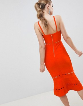 photo Bandage Midi Dress with Pephem and Cut Out Detail by ASOS DESIGN Premium, color Red - Image 2