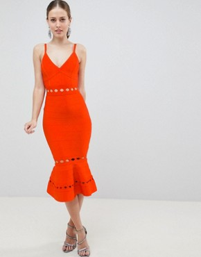 photo Bandage Midi Dress with Pephem and Cut Out Detail by ASOS DESIGN Premium, color Red - Image 1