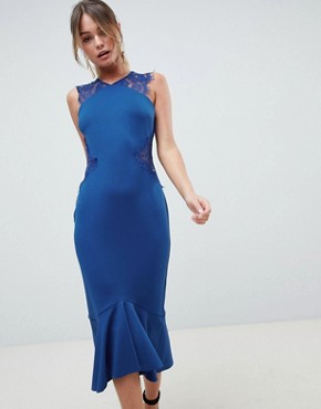 photo Scuba Lace Insert Pephem Midi Dress by ASOS DESIGN, color Cobalt Blue - Image 1