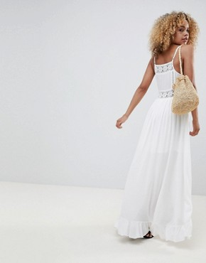 photo Button Up Cami Dress with Wrap Front and Crochet Panels by Sisters of the Tribe Petite, color White - Image 2