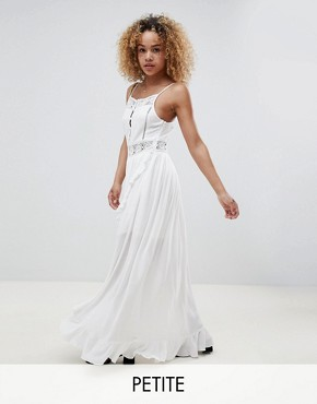 photo Button Up Cami Dress with Wrap Front and Crochet Panels by Sisters of the Tribe Petite, color White - Image 1