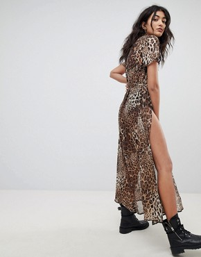 photo Sheer Maxi T-Shirt Dress with Belt Tie & Thigh Splits by Ebonie n Ivory, color Leopard - Image 2