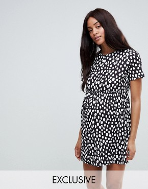 photo Maternity Nursing Zip Through Dress in Spot Print by ASOS DESIGN, color Multi - Image 1