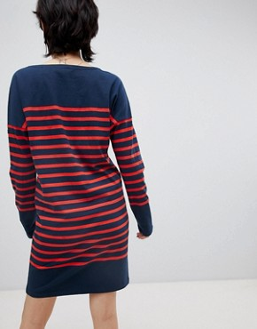photo Breton Stripe Sweat Dress by Maison Scotch, color Navy/Red Stripe - Image 2