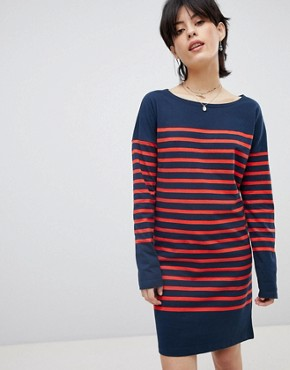 photo Breton Stripe Sweat Dress by Maison Scotch, color Navy/Red Stripe - Image 1
