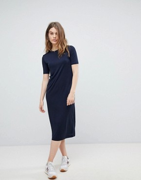 photo Column Midi Dress by Weekday, color Navy - Image 1