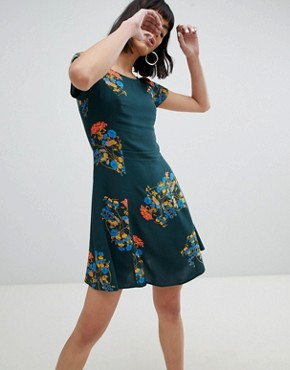 photo Floral Tea Dress with Tie Back Detail by Weekday, color Green Print - Image 2
