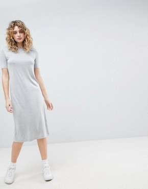 photo Column Midi Dress by Weekday, color Grey Melange - Image 1
