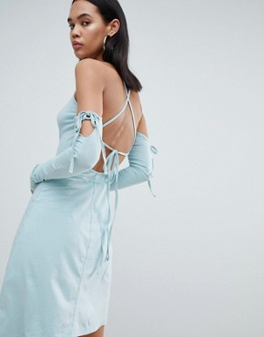 photo Limited Edition Criss Cross Back Asymmetric Dress by Weekday, color Light Blue - Image 2