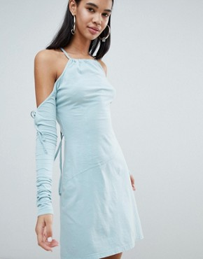 photo Limited Edition Criss Cross Back Asymmetric Dress by Weekday, color Light Blue - Image 1