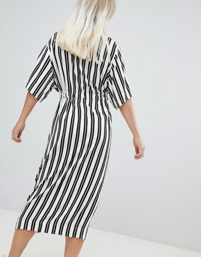 photo Stripe Shirt Dress by Weekday, color Black And White - Image 2