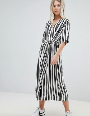 photo Stripe Shirt Dress by Weekday, color Black And White - Image 1