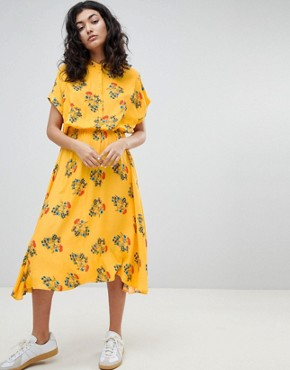 photo Floral Midi Dress by Weekday, color Yellow Floral - Image 2