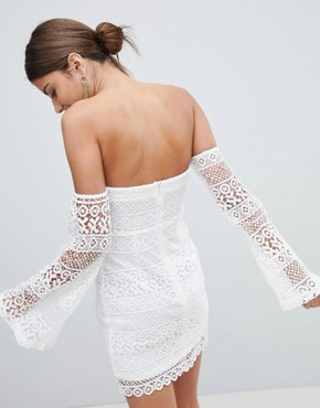 photo Lace Flare Sleeve Bardot Bodycon Dress by PrettyLittleThing, color White - Image 2