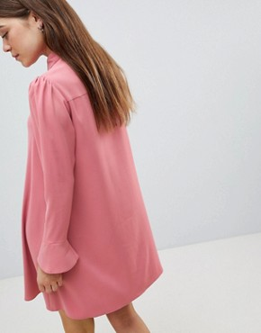 photo Long Sleeve Mini Shirt Dress by ASOS DESIGN, color Nude - Image 2