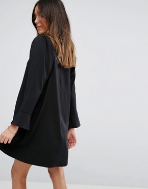 photo Long Sleeve Mini Shirt Dress by ASOS DESIGN, color Black - Image 2